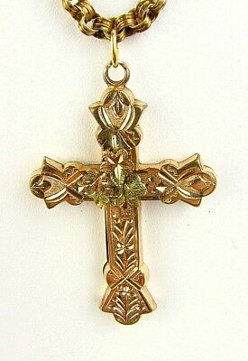 ANTIQUE CROSS *LARGE* TRI COLOR GOLD FILLED*  HEAVY ENGRAVING & CHAIN c.1870