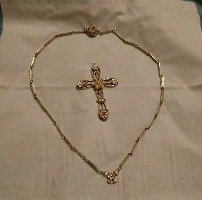 Vintage Necklace With Bow And Cross Pendant Silver Plated Copper