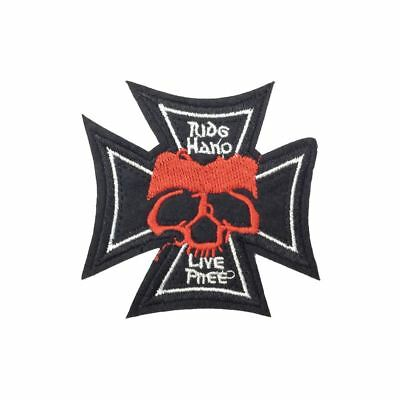 Iron On// Sew On Embroidered Patch Badge Live Free Ride Free Biker Skull Cross