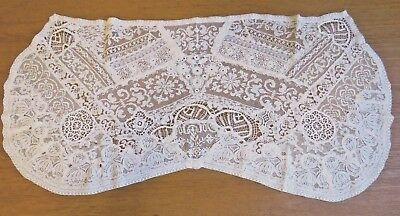 Antique Lace Runner Table Dresser Scarf Irish Crochet Normandy
