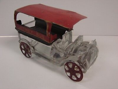 Rare West Brothers Jitney Bus Candy Container B Red Roof Glass Seat Westmoreland