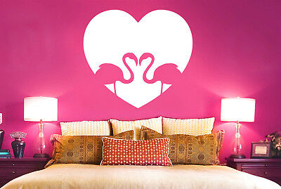 Flamingo Love Heart Wall Stickers Vinyl Art Decals