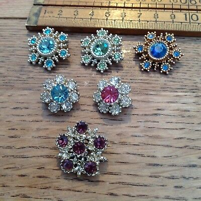 Six Vintage Brooches, Six Vintage Sparkling Flower Brooches, Glass Stones