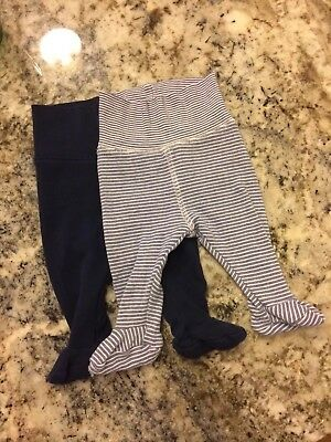2 Pairs H&M Baby Leggings With Feet 0 to 1 month Newborn Navy blue & Blue/White.