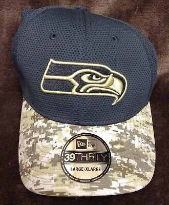 7b610b841 NWT L XL Seattle Seahawks 2016 New Era 39THIRTY Salute To Service Cap Hat