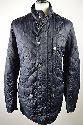 Classic men's Barbour navy blue sheen diamond quilted jacket coat small