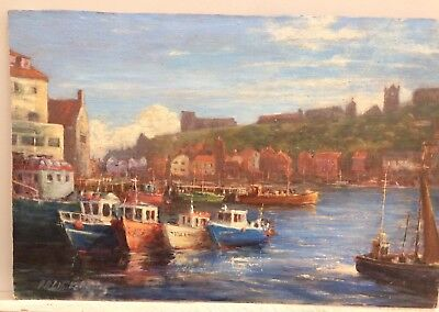 Original Oil Painting on board Paul whitehouse signed Whitby harbour Yorkshire
