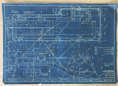"Antique Vintage Industrial Blueprint Drawing Machine Age 1906 Frame - 22"" Stroke"