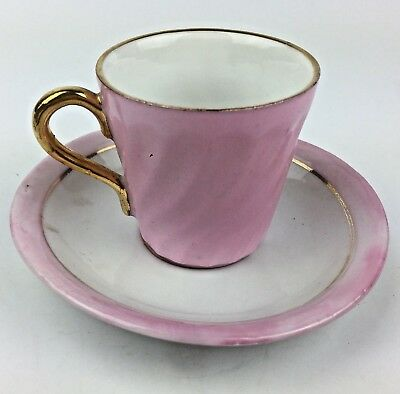 Vintage Pretty Pink Demitasse Cup And Saucer Gold Enameling