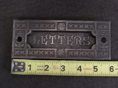 Antique Eastlake LETTERS Mail Slot Cast Iron - Cleaned with Oil Rubbed Finish