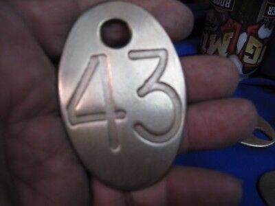 BRASS COW NUMBER TAG DAIRY FARM CATTLE MARKER # 43 DOUBLE SIDED vintage ORIGINAL