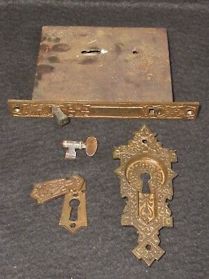 Large 1800's Pocket Door Locking Mortise Pull and Key Hole Cover and Working Key