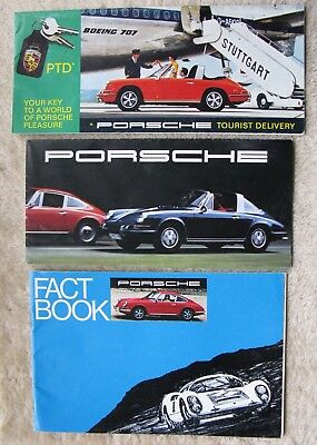 Lot Of Three 969 Porsche Brochures Fact Book Tourist Delivery Foldout.