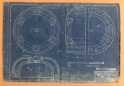 Antique Vintage Industrial Blueprint Drawing Machine Age 1921 GAS CYLINDER HEAD