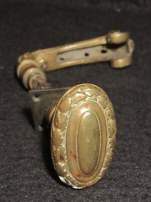 Antique Solid Brass Front Door Knob and Handle Working Condition with Set Screws