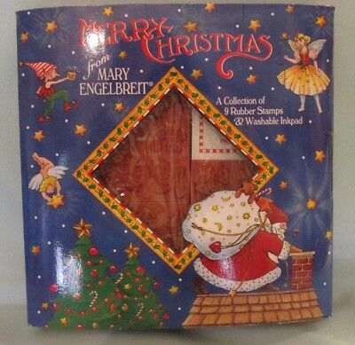 """1994 MARY ENGELBREIT """"Merry Christmas"""" Rubber Stamp Set - 9 Stamps + Inkpad NIB"""