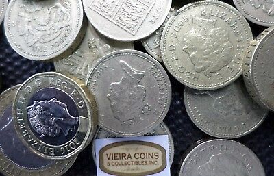 21 Great Britain UK Pound Face Value Coins for Exchange/Vacation - #10381