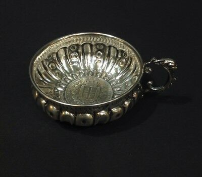 solid silver wine tasting cup. embedded coin. 1833 king of Sardinia antique.