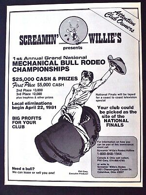 SCREAMIN' WILLIE'S Mechanical Bull Rodeo Championship 1981 Orig. Promo Poster Ad