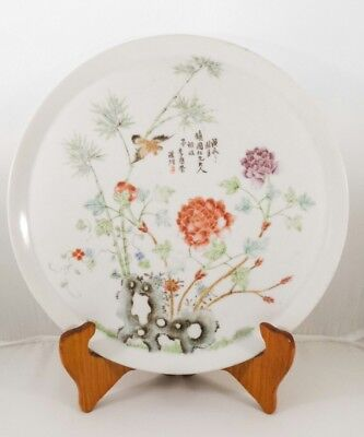 Antique Chinese Famille Rose Republic Period c1928 Wall Plate Artist Li Enrong