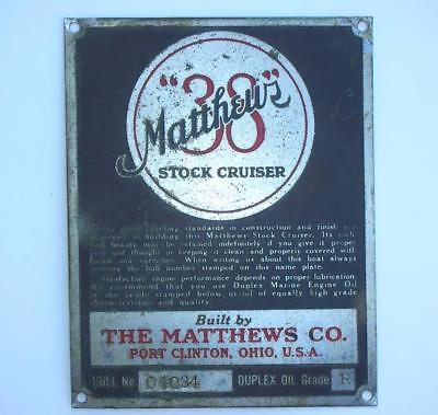 """Antique Matthews """"38""""  Stock Cruiser Boat Plaque Plate from 1940 Boat"""
