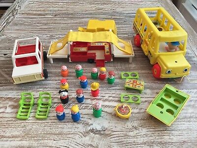 Fisher Price Vintage Camping Set and School Bus