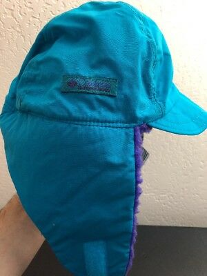 a361c7e62dd6cd Vtg. 80s 90s Columbia Ear Flaps Trapper Cap Winter Hat Teal & Purple USA  Youth