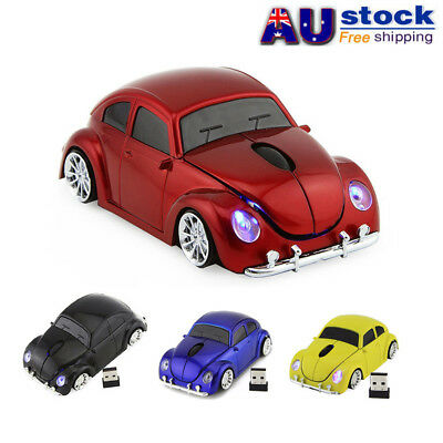 Cordless 2.4Ghz VW Beetle Car Wireless Mouse LED Optical Mice Bug + USB Receiver