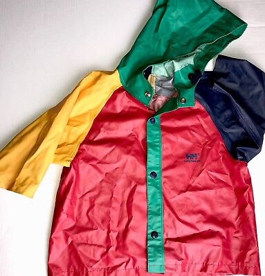 VTG Helly Hansen Toddlers Unisex Rain Coat Red Yellow BLUE Green