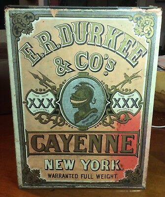 1871 E.R. Durkee & Co Spice Tin Can Cayenne New York Store Bin Paper Label Rare