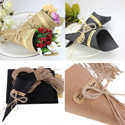 50/100 Vintage Kraft Paper Cones Bouquet Candy Boxes Wedding Party Gifts Flower