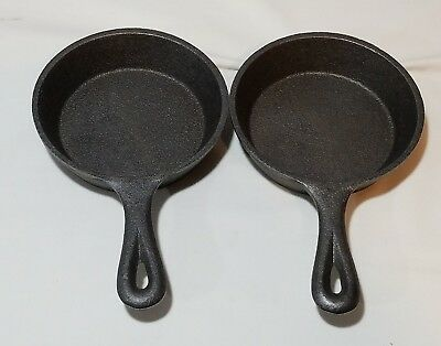 "(2) VTG Burling Enterprises NY Small 4.5"" Cast Iron Skillet NOS new old stock"