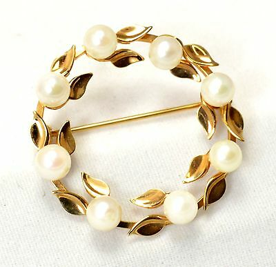 Vintage 14k Solid Yellow Gold Leaf Pearl Brooch DCE Curtis Jewelry A33-263