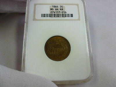 1864 Ngc Ms64Rb 2 Cent Piece
