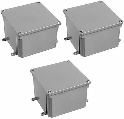"(3) Pack Thomas & Betts E987RR 6"" x 6"" x 4"" PVC Molded Electrical Junction Box"