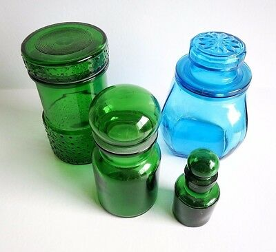 Vintage - Retro Green & Blue Glass Jars / Canisters - Belgium - Apothecary