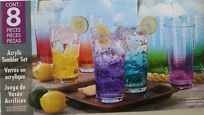 GENUINE 8 Piece Acrylic Drinkware/Tumbler Set 8 Colours Free Superfast Shipping!
