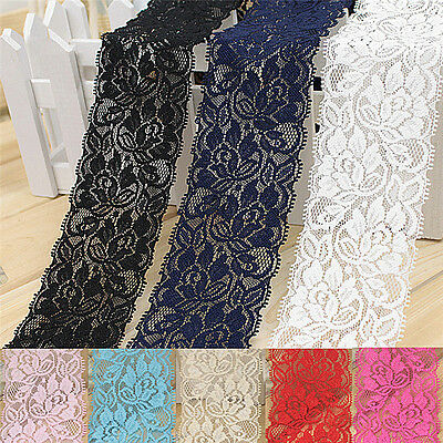 1yard 6.5cm Flower Stretch Lace Trim Sewing Dress Skirt Decor DIY Ribbon Craft3C