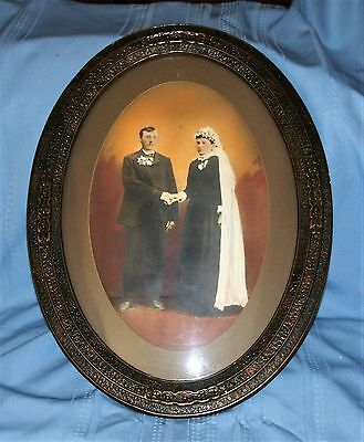 Antique Ornate Wood  Frame Convex Glass Colored Photo Couple