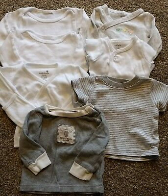 Baby clothes lot of 7 newborn shirts - boy or girl - Carters Burts Bees