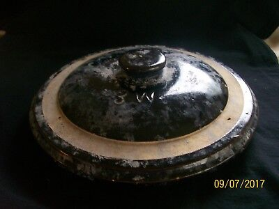 """Antique Stoneware Crock Cover Lid 10 1/2"""" Lid Brown Cream Marked 3W 2N Redwing?"""