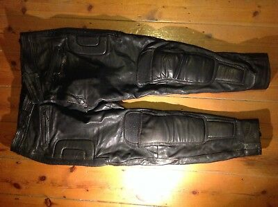 LEATHER PADDED MOTORCYCLE PANTS, size 42