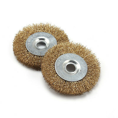 2Pcs 4inch Steel Flat Wire Wheel Brush Cleaning Polishing Rotary Tool Arbor 16mm