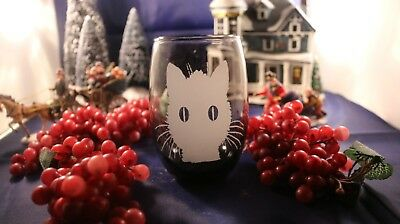 Smokey Gray Stemless Wine Glass With Cat Face