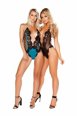 Roma Deep V Eyelash Lace & Satin Teddy Lingerie LI243