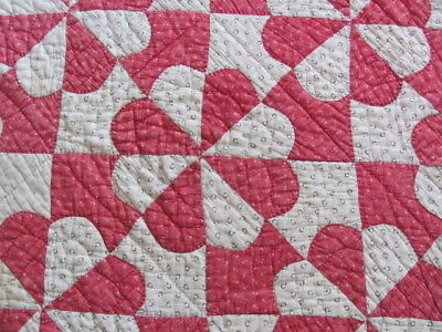 Antique red white Hearts and Arrows cutter quilt hand quilted repurpose