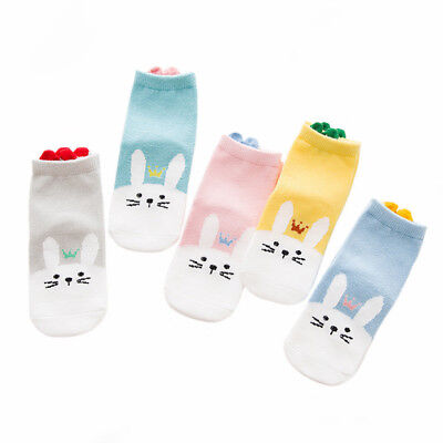 5 Pairs Baby Children Breathable Cotton Socks Cute Cartoon 3D Shape Anklet Socks