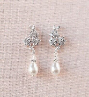 Crystal Pearl Bridal Earrings, Stud wedding earrings, Jewelry, Wedding Swarovski