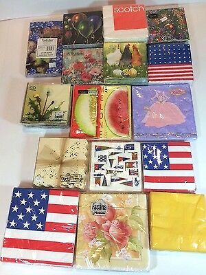 Large Mixed Lot of Vintage Paper Party Holiday Napkins - sealed in package