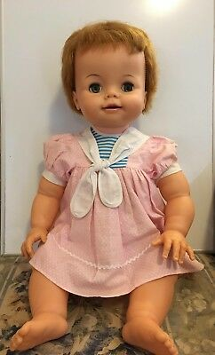 """Vintage Ideal Baby Doll BIBSY 23"""" inches."""
